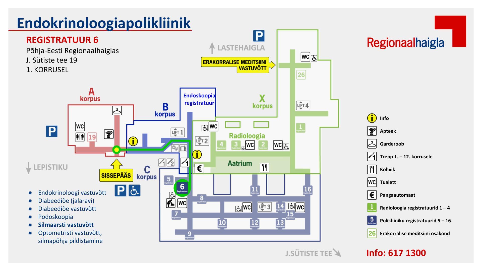 1292b542bde Polikliinikute teekonnakaardid registratuur 6 endokrinoloogia.  Endokrinoloogiapolikliinik