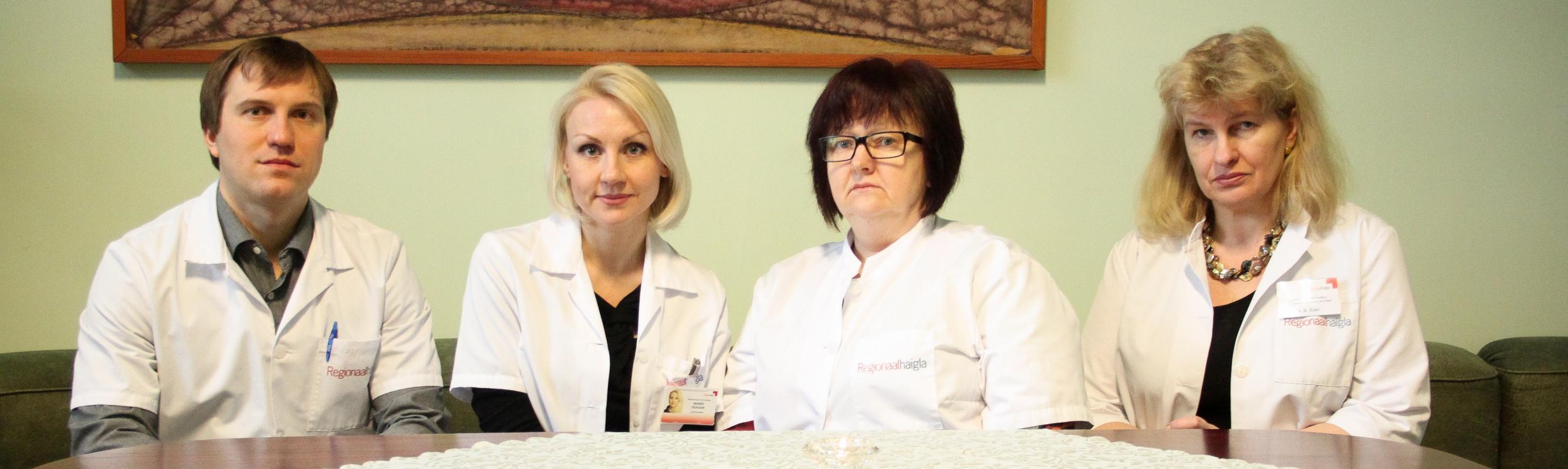 V osakonna tohtrid Margus Lõokene, Ingrid Veiksar, Katrin Tammeväli ja osakonna juhataja Katrin Eino