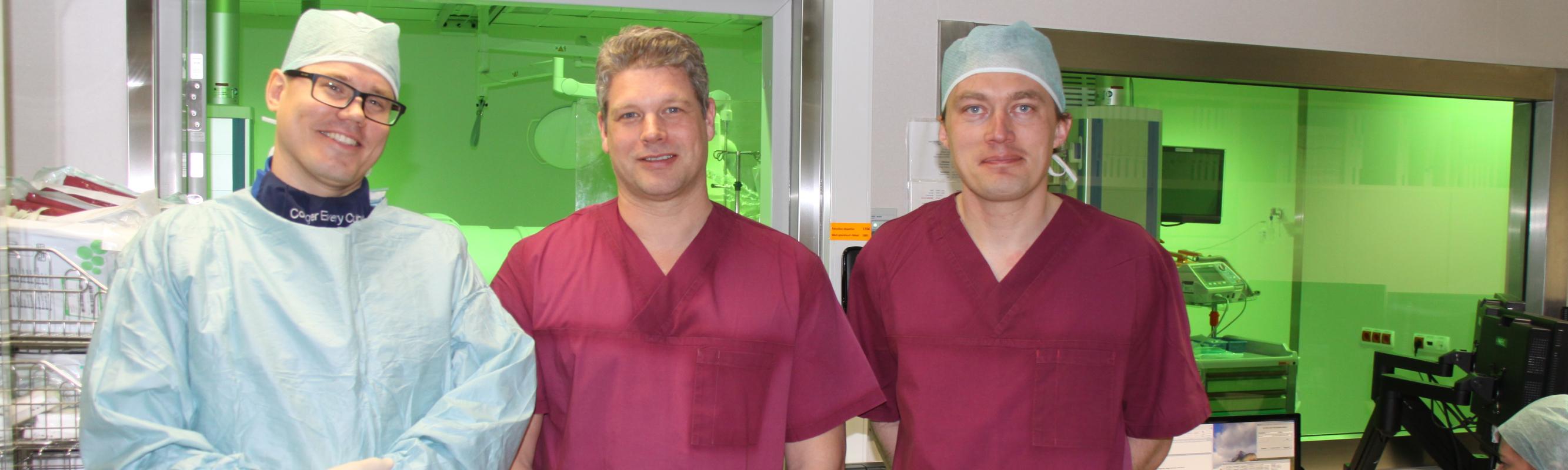 Dr Hanni, dr Wissner ja dr Kampus peale Stereotaxis protseduuri