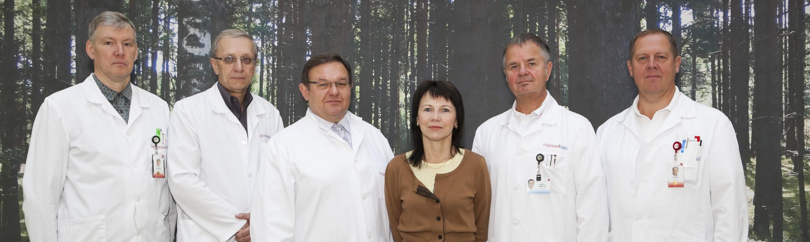 Vähiravi kvaliteedikomisjon. Pildil vasakult: dr Rein Raudsepp, dr Vahur Valvere, dr Sergei Nazarenko, dr Marina Kaarna, dr Andrus Remmelgas, dr Leonhard Kukk