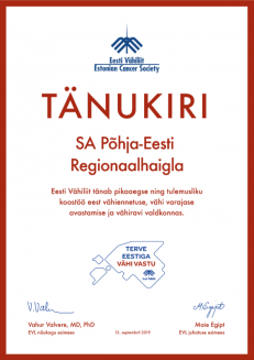 Eesti Vähiliidu tänukiri