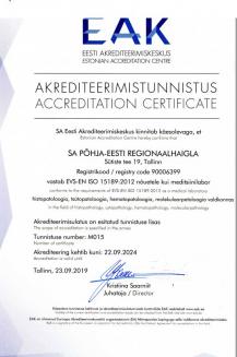 Patoloogiakeskuse akrediteerimistunnistus